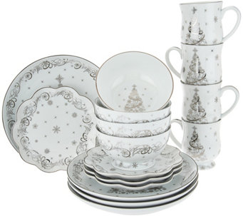 """As Is"" Temp- tations 16 pc. Dinnerware Set Choice, Winter Christmas Eve - H211089"