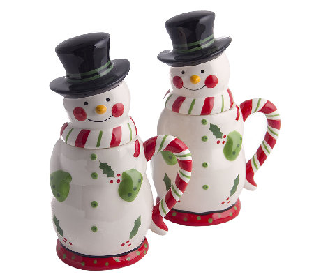 Temp-tations Set of 2 24-oz Snowman Mugs with Gift Boxes