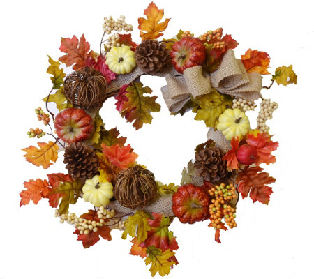 "24"" Fall Pumpkin and Leaf Wreath by Valerie"