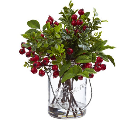 Berry Boxwood in Glass Jar by Nearly Natural