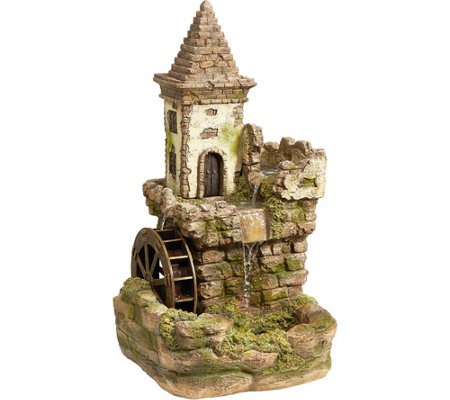 Design Toscano Fairy Village Waterwheel Sculptural Fountain