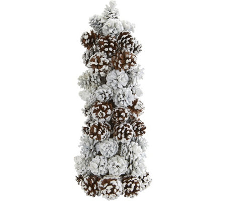 Snowed Pinecone Tree by Nearly Natural