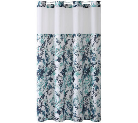 Hookless Watercolor Floral Print Shower Curtain
