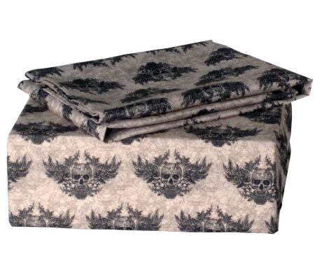 Veratex Winged Skull Queen Sheet Set