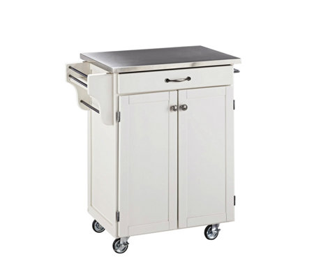 Home Styles Cuisine Cart White Finish with Staiess Steel Top