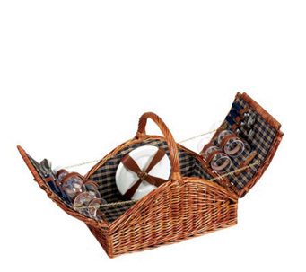 Household Essentials Willow Picnic Basket - Service for 4 - H142590