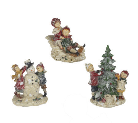 3-Piece Frosted Children Snow Scenes by Valerie