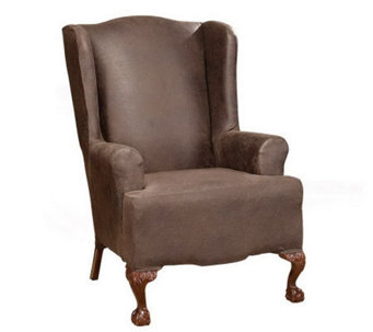 Sure Fit Stretch Faux-Leather Wing Chair Slipcover - H174490