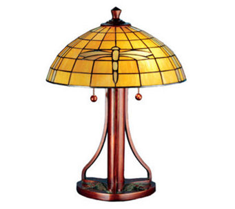 "Tiffany Style 22""H Arts and Crafts Dragonfly Table Lamp - H181290"