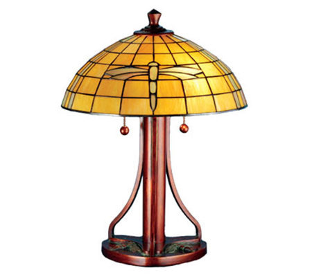 "Tiffany Style 22""H Arts and Crafts Dragonfly Table Lamp"