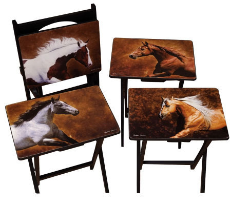 Evergreen Set of 4 Dawson Horse TV Trays