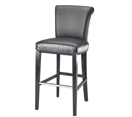 Sloping Back Bicast Leather Bar Stool with Espresso Legs