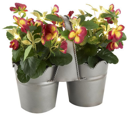 "Bethlehem Lights Battery Op. 9"" Potted Pansies w/ LED & Timer"