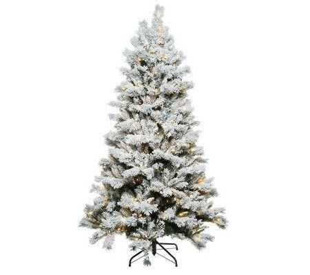 Santa's Best 6.5' Flocked Sherwood Spruce Christmas Tree w/ Easy ...
