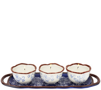 Temp-tations (3) 4 oz. Ceramic Candles with Decorative Tray - H204590