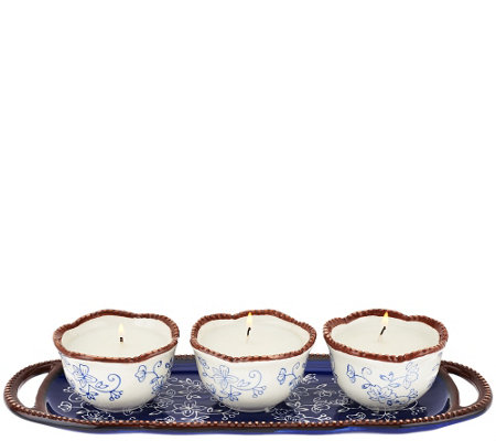 Temp-tations (3) 4 oz. Ceramic Candles with Decorative Tray