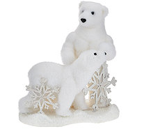 Momma and Baby Glistening Polar Bear Figurine with Snowflakes - H205990