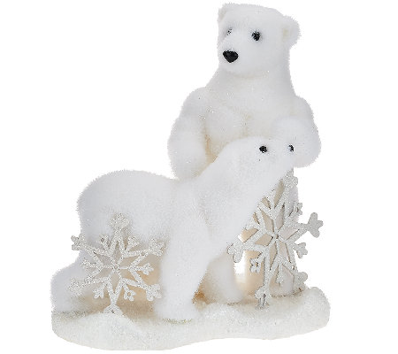 Momma and Baby Glistening Polar Bear Figurine with Snowflakes