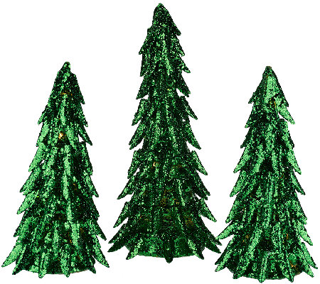 """As Is"" Set of 3 Illuminated Majestic Trees by Valerie"