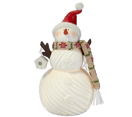 "Kringle Express 11"" Porcelain Snowman with Fabric Scarf Luminary"