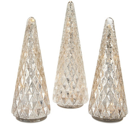 Set of 3 Illuminated Diamond Pattern Trees by Valerie