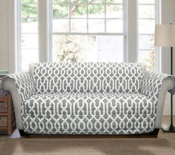 Edward Trellis Gray Love Seat Furniture Protector - Lush Decor - H290190