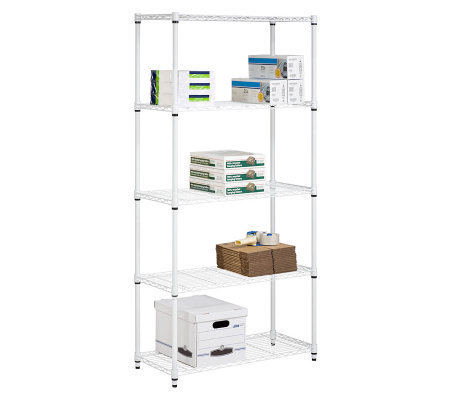 Honey-Can-Do 5-Tier White Steel Urban Adjustable Shelving Unit