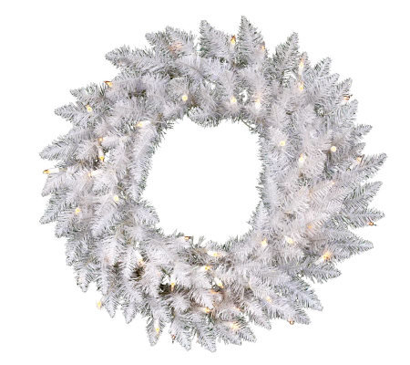 "24"" White Sparkle Spruce Wreath w/ Dura-Lit Lights"
