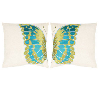 "Set of 2 18"" x 18"" Indra Blue Wing Pillows fromSafavieh - H365790"