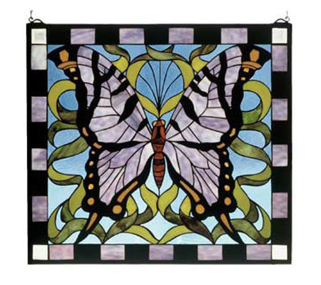 Meyda Tiffany Style Purple Butterfly Window Panel
