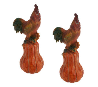 "Set of 2 13"" Rooster and Pumpkin Figure by Valerie - H197291"