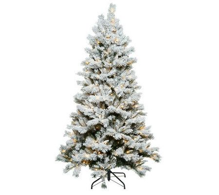 Santa's Best 7.5' Flocked Sherwood Spruce Christmas Tree w/ Easy ...