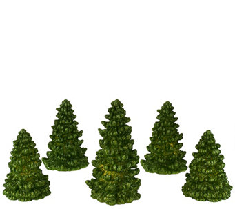 """As Is"" Set of 5 Illuminated Glitter Wax Trees by Valerie - H207491"