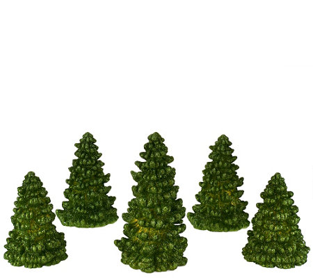 """As Is"" Set of 5 Illuminated Glitter Wax Trees by Valerie"