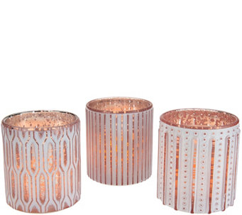 Candle Impressions S/3 Flameless Candles in Patterned Glass - H207991