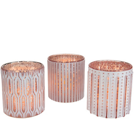 Candle Impressions S/3 Flameless Candles in Patterned Glass