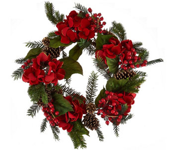 "22"" Glitter Velvet Hydrangea and Pinecone Wreath - H209591"