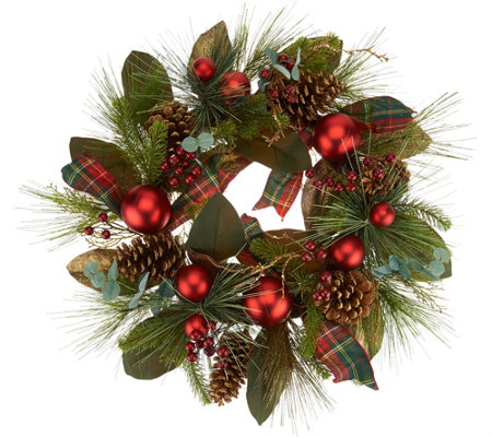 "24"" Mixed Pine, Berry and Pinecone Wreath by Valerie"