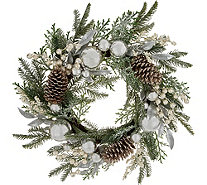 "24"" Ornament, Berry, and Pinecone Wreath by Valerie - H212791"
