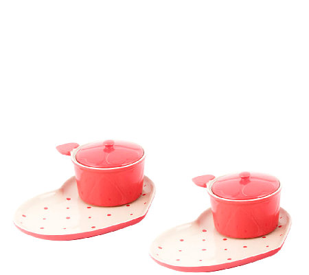 Temp-tations Polka Dot Heart-Shaped Soup and Sandwich Set