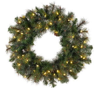 "36"" Prelit Modesto Pine Wreath w/ LED Lights byVickerman - H287691"