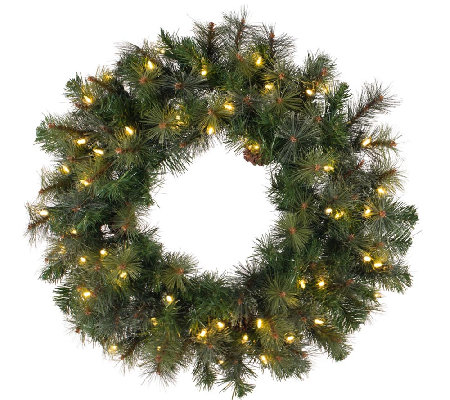 "36"" Prelit Modesto Pine Wreath w/ LED Lights byVickerman"