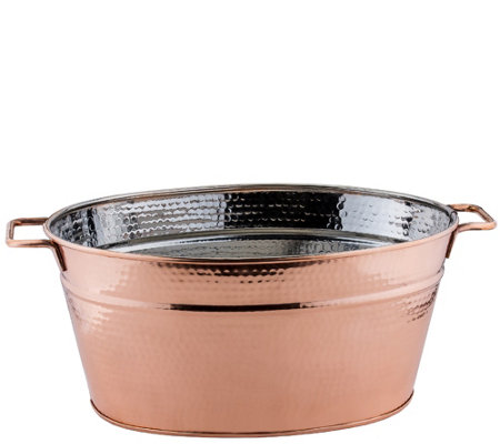 Old Dutch Hammered Copper-Plated Oval BeverageTub