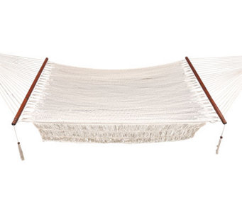 Bliss Hammock Wide Cotton Rope Hammock With Hardwood - H363591