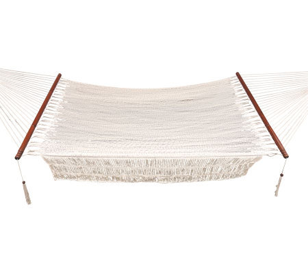 Bliss Hammock Wide Cotton Rope Hammock With Hardwood