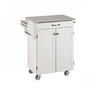 Home Styles Cuisine Cart White Finish with Grane Top - H127292