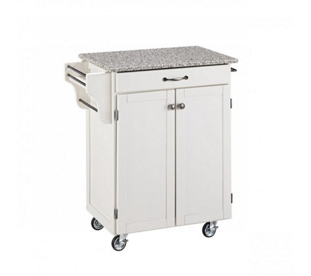 Home Styles Cuisine Cart White Finish with Grane Top
