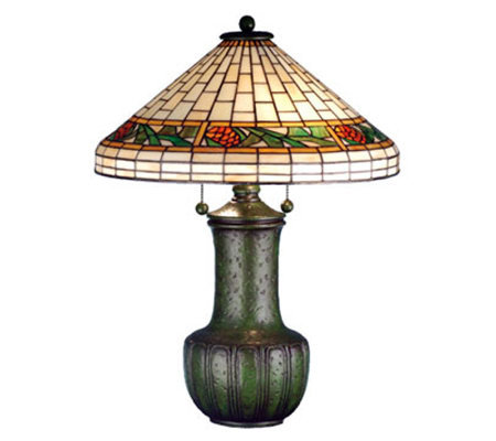 "Tiffany Style 25""H Bungalow Pinecone Table Lamp"