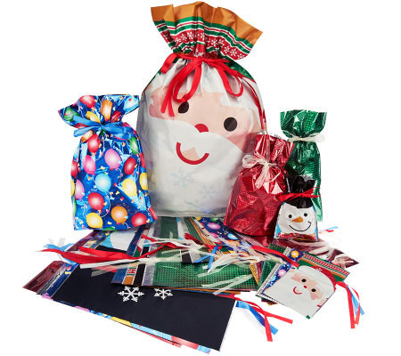 Kringle Express 62-Piece E-Z Drawstring Holiday Gift Bag Set