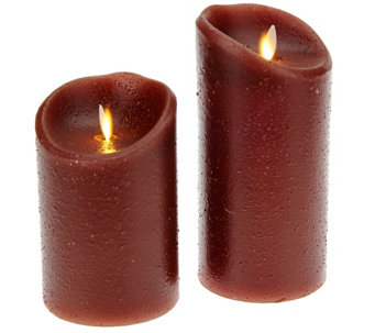 "Luminara 5"" and 7"" Country Wax Flameless Candles w/Timer - H206592"
